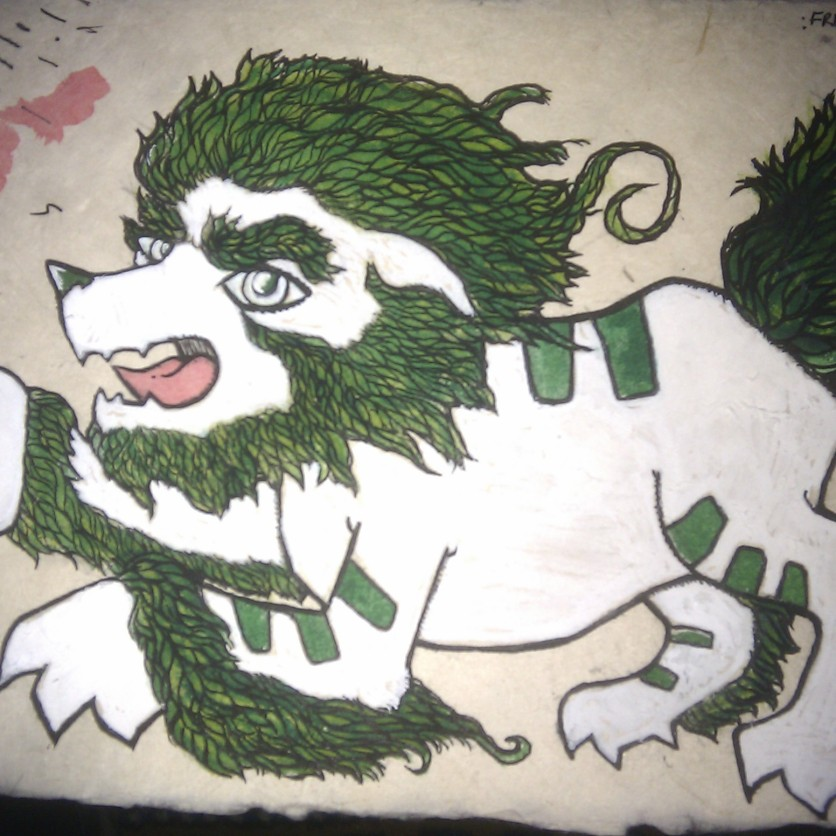 Tibetan Snow Lion. Drawn and painted on Himalayan Paperwhilst I was visiting Kalimpong, North India.