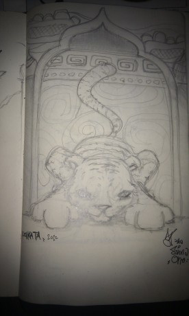 Sketch for the Jamini Roy style tiger mural that I painted in Kolkata.