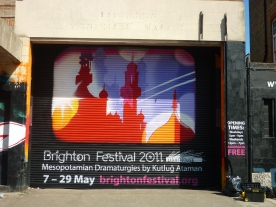 Depiction of graphic from Brighton Festival Brochure. In conjunction with the Aung San Suu Kyi mural. Painted alongside SNUB23.