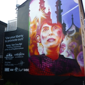 Aung San Suu KYI mural. A depiction of the festival brochure cover. Project was managed by myself and I painted it alongside SNUB23 and Dan Kitchener. Main portrait by Dan Kitchener.