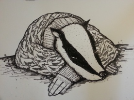 Badgerfaced Blues. Hand finished screen print.