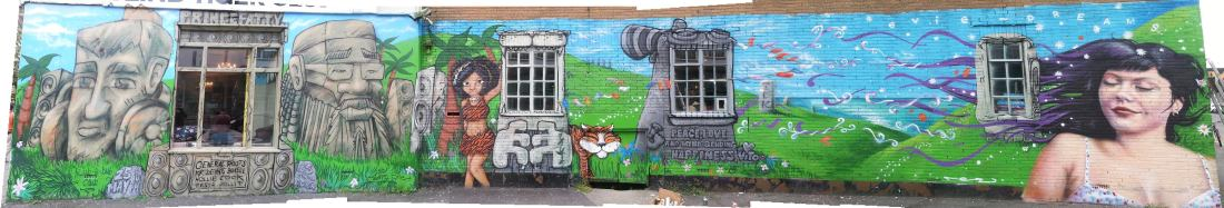 Blind Tiger Mural - Prince Fatty, Horseman, Holly Cook, Vito and Evie Jones.