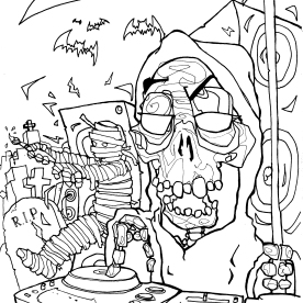 Drawing for Producer's retreat Halloween flyer.