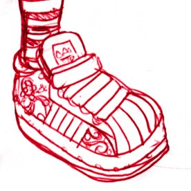 Sketch for some custom shell toes that I did for a Birthday present.