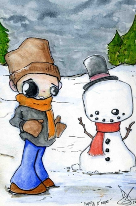 Drawn for Christmas cards around 2007. Water colour pencil.