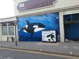 Whalefest mural at the Hilton. Box image not by me. Feb 2014.