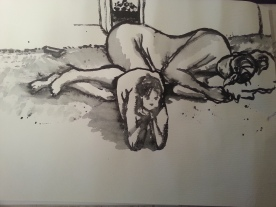 Life drawing at the warehouse gallery. Trying out Japanese ink.. March 2014